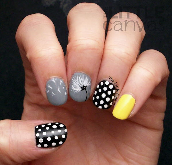 36 dandelion nail art - 40+ Cute Dandelion Nail Art Designs And Tutorials – Make a Dandelion Wish
