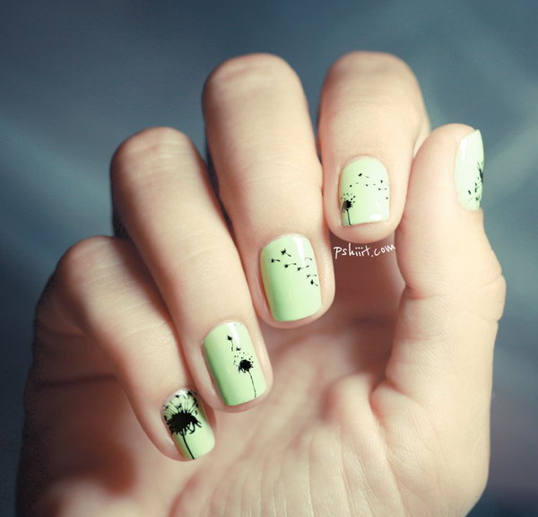 37 dandelion nail art - 40+ Cute Dandelion Nail Art Designs And Tutorials – Make a Dandelion Wish