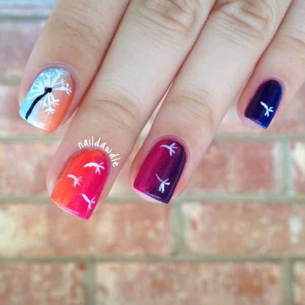 46 dandelion nail art - 40+ Cute Dandelion Nail Art Designs And Tutorials – Make a Dandelion Wish