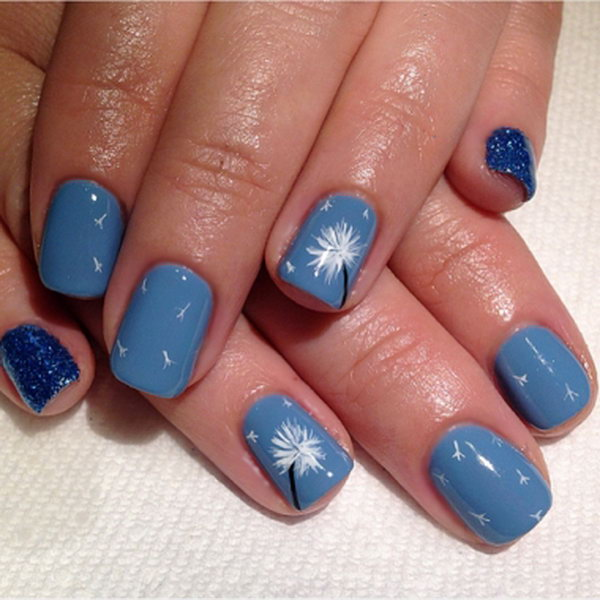 5 dandelion nail art - 40+ Cute Dandelion Nail Art Designs And Tutorials – Make a Dandelion Wish