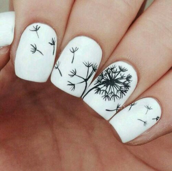 9 dandelion nail art - 40+ Cute Dandelion Nail Art Designs And Tutorials – Make a Dandelion Wish
