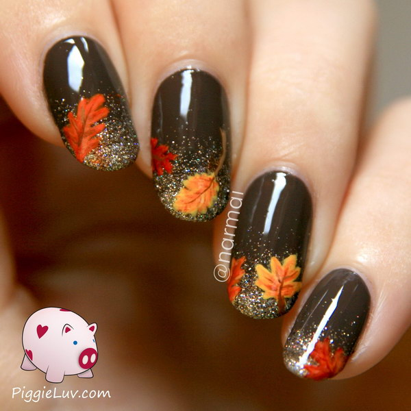 Glitter French Tip Nail Finished With Fall Flowers On Top Get The Step By