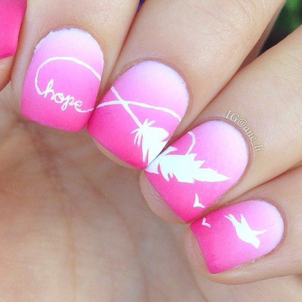 1 1 feather nail art - 40+ Pretty Feather Nail Art Designs And Tutorials