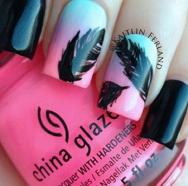 15 feather nail art - 40+ Pretty Feather Nail Art Designs And Tutorials