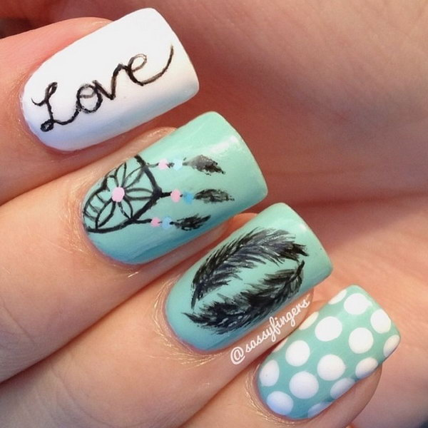 18 feather nail art - 40+ Pretty Feather Nail Art Designs And Tutorials