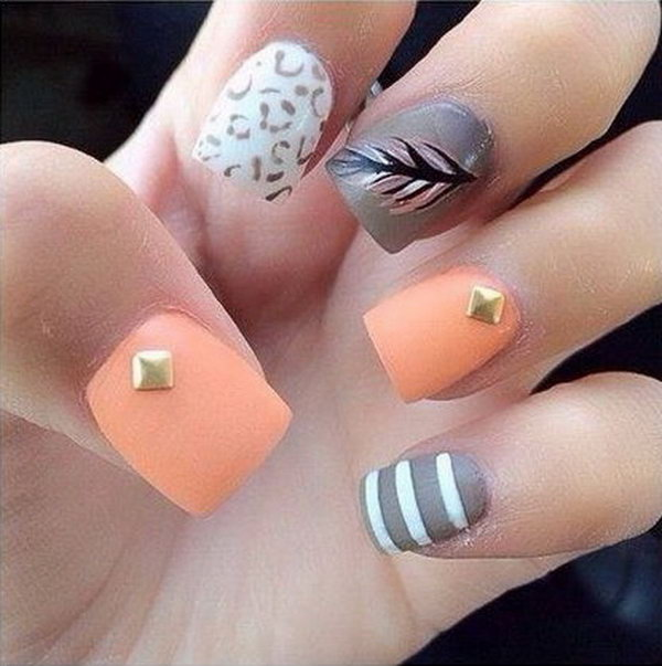19 feather nail art - 40+ Pretty Feather Nail Art Designs And Tutorials