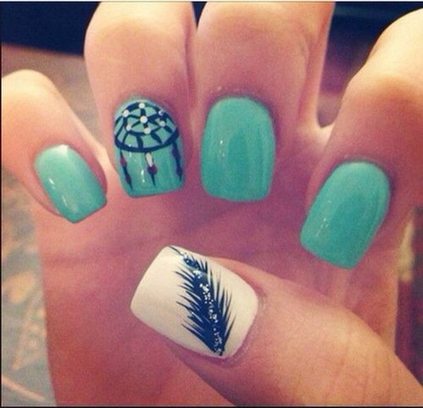 21 feather nail art - 40+ Pretty Feather Nail Art Designs And Tutorials