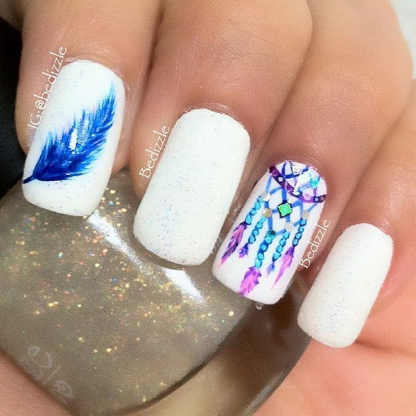 33 feather nail art - 40+ Pretty Feather Nail Art Designs And Tutorials