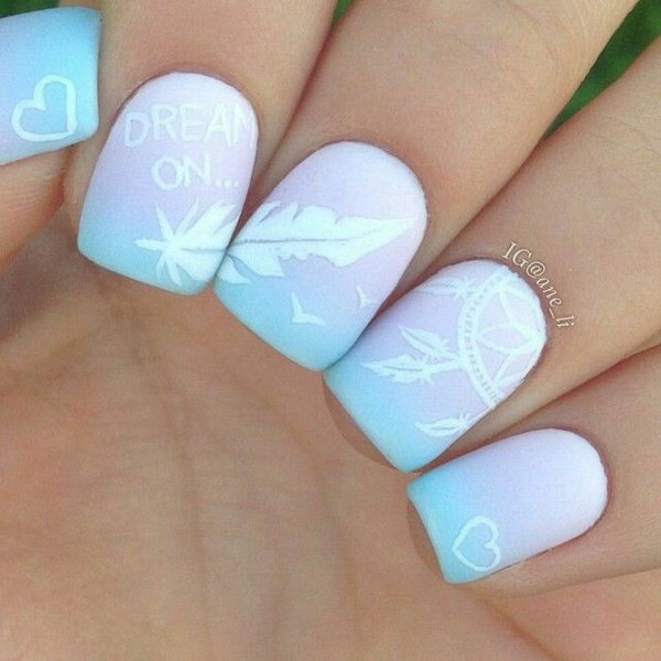34 feather nail art - 40+ Pretty Feather Nail Art Designs And Tutorials