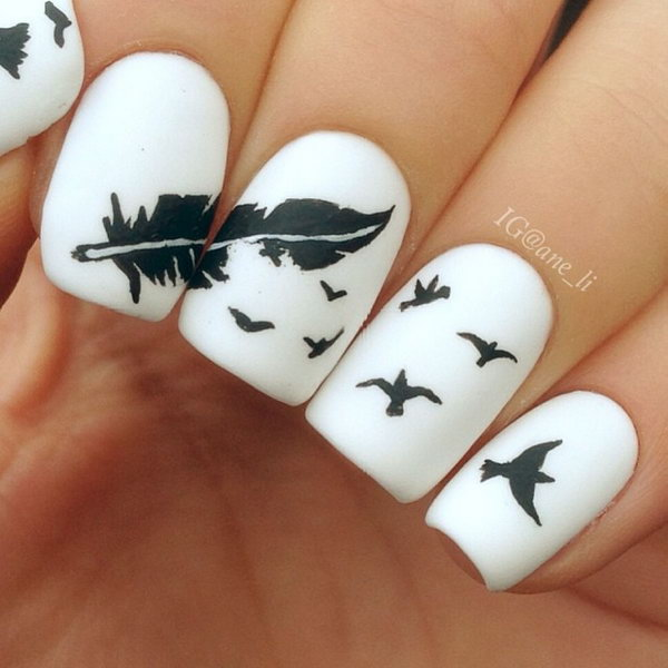 38 feather nail art - 40+ Pretty Feather Nail Art Designs And Tutorials