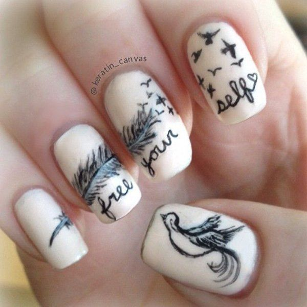 5 feather nail art - 40+ Pretty Feather Nail Art Designs And Tutorials