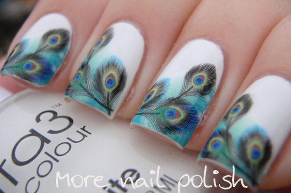 8 feather nail art - 40+ Pretty Feather Nail Art Designs And Tutorials