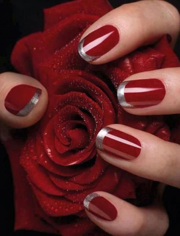 Red And Silver French Nail With Glitters