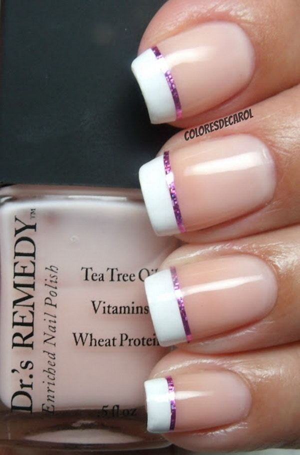 French Tips Nail With A Sliver Of Pink