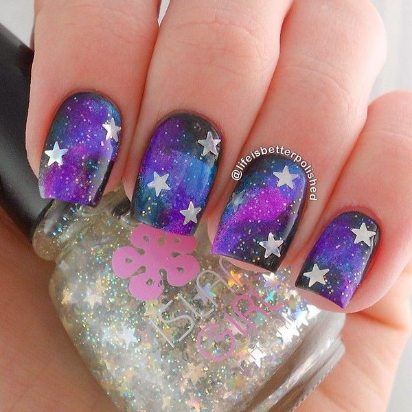 10 galaxy nail art - 50 Gorgeous Galaxy Nail Art Designs and Tutorials