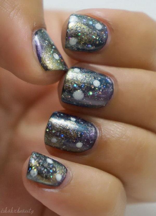 20 galaxy nail art - 50 Gorgeous Galaxy Nail Art Designs and Tutorials