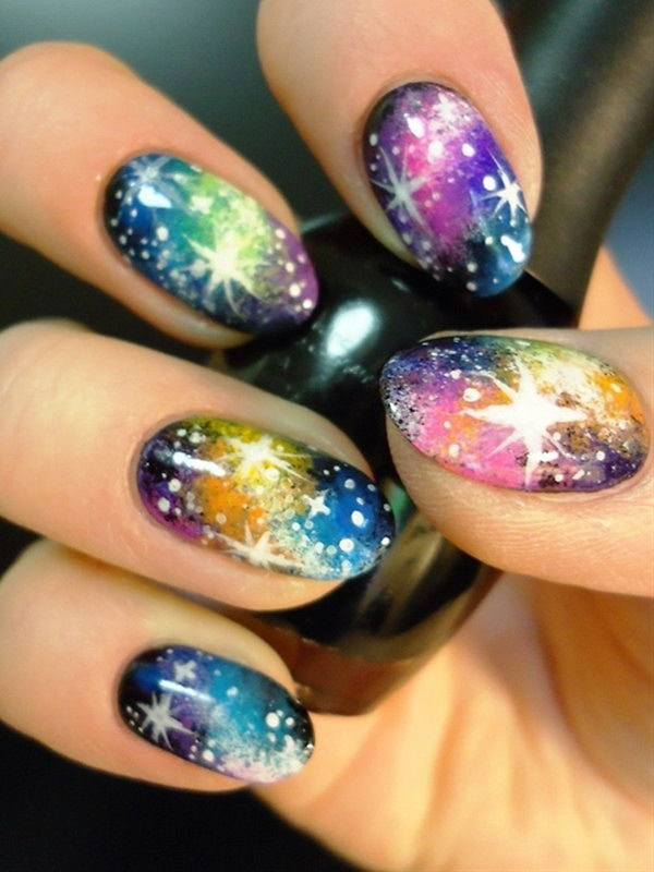 24 galaxy nail art - 50 Gorgeous Galaxy Nail Art Designs and Tutorials