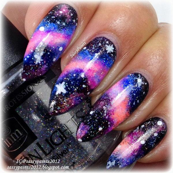 26 galaxy nail art - 50 Gorgeous Galaxy Nail Art Designs and Tutorials