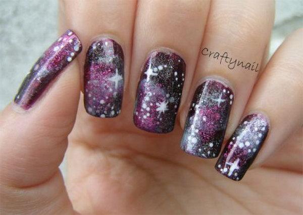 36 galaxy nail art - 50 Gorgeous Galaxy Nail Art Designs and Tutorials
