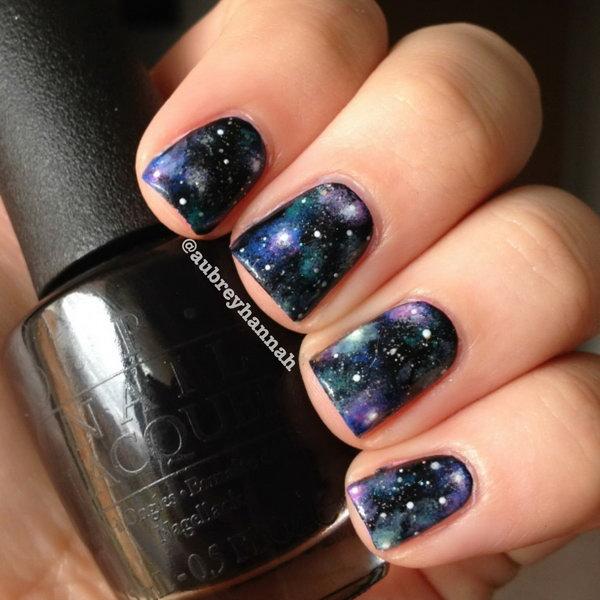 40 galaxy nail art - 50 Gorgeous Galaxy Nail Art Designs and Tutorials