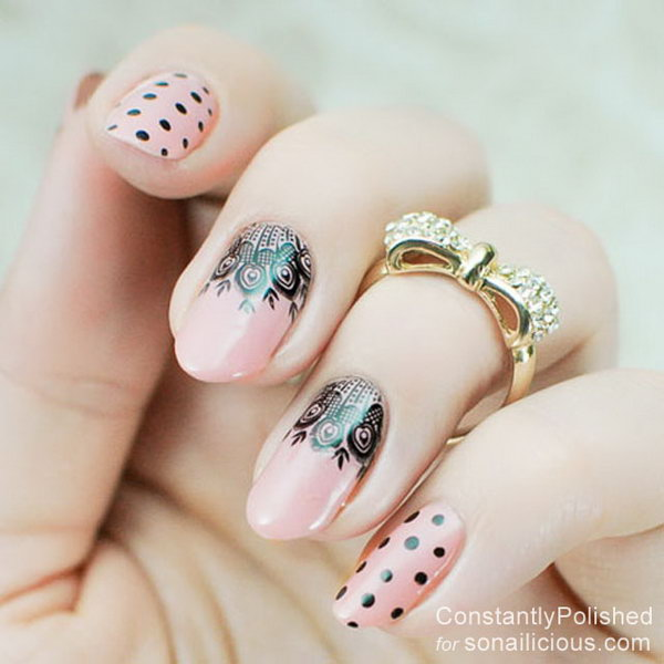 51 lace nail art - 60 Lace Nail Art Designs & Tutorials For You To Get The Fashionable Look