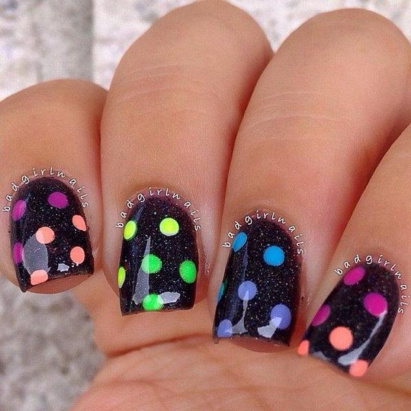 13 polka dots nail art designs - 50+ Stylish Polka Dots Nail Art Designs