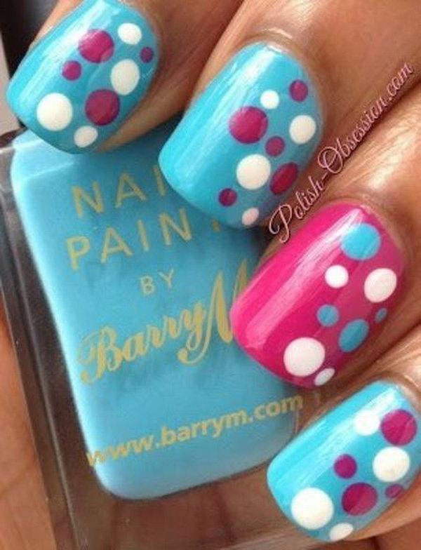 16 polka dots nail art designs - 50+ Stylish Polka Dots Nail Art Designs