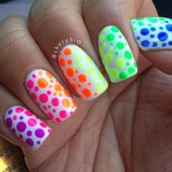 26 polka dots nail art designs - 50+ Stylish Polka Dots Nail Art Designs
