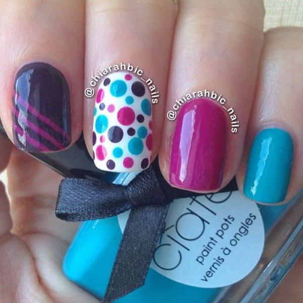 27 polka dots nail art designs - 50+ Stylish Polka Dots Nail Art Designs