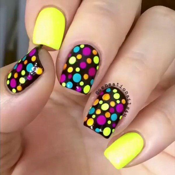 31 polka dots nail art designs - 50+ Stylish Polka Dots Nail Art Designs