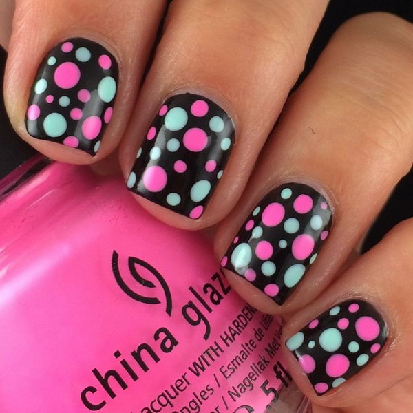 9 polka dots nail art designs - 50+ Stylish Polka Dots Nail Art Designs