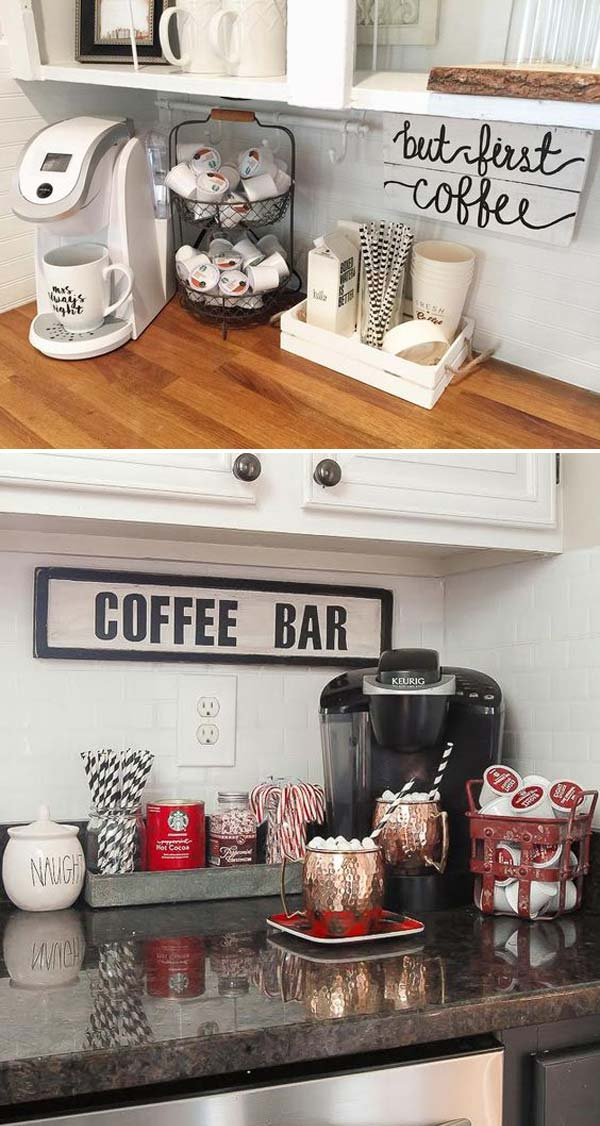 9 coffee station diy ideas tutorials - 15+ Cool DIY Coffee Station Ideas