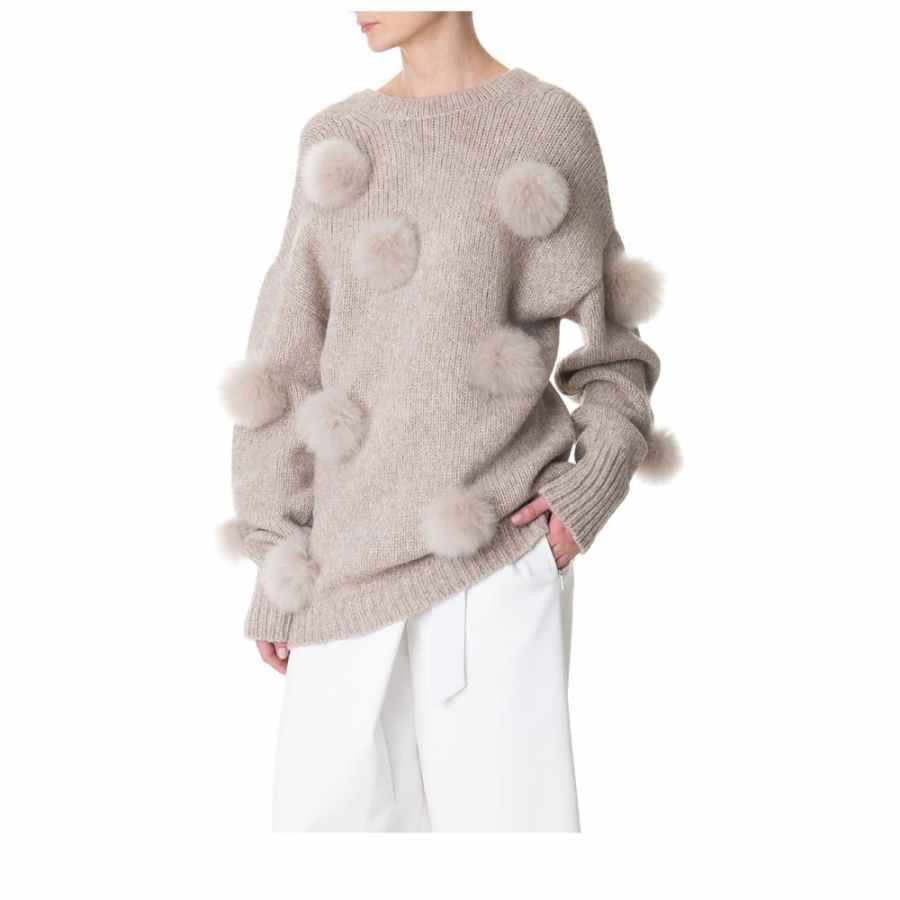 Tibi Alpaca Pompom Decollete Sweater