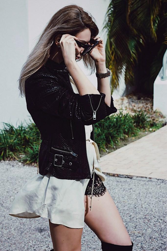 Details: Diesel Black leather jacket Quay Sunglasses