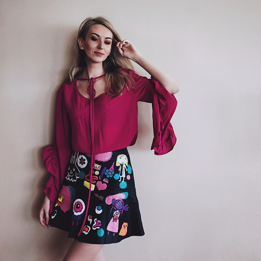 Magenta Frilly Top Graffiti Leather Skirt