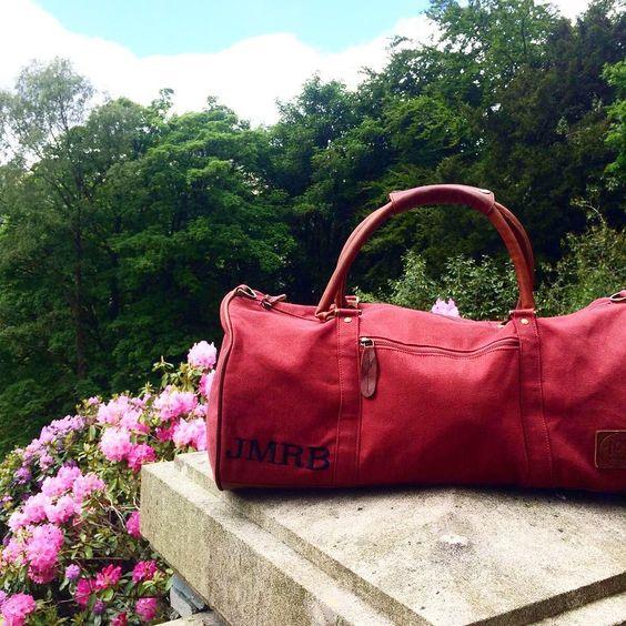 Mahi Leather Red Duffle Bag