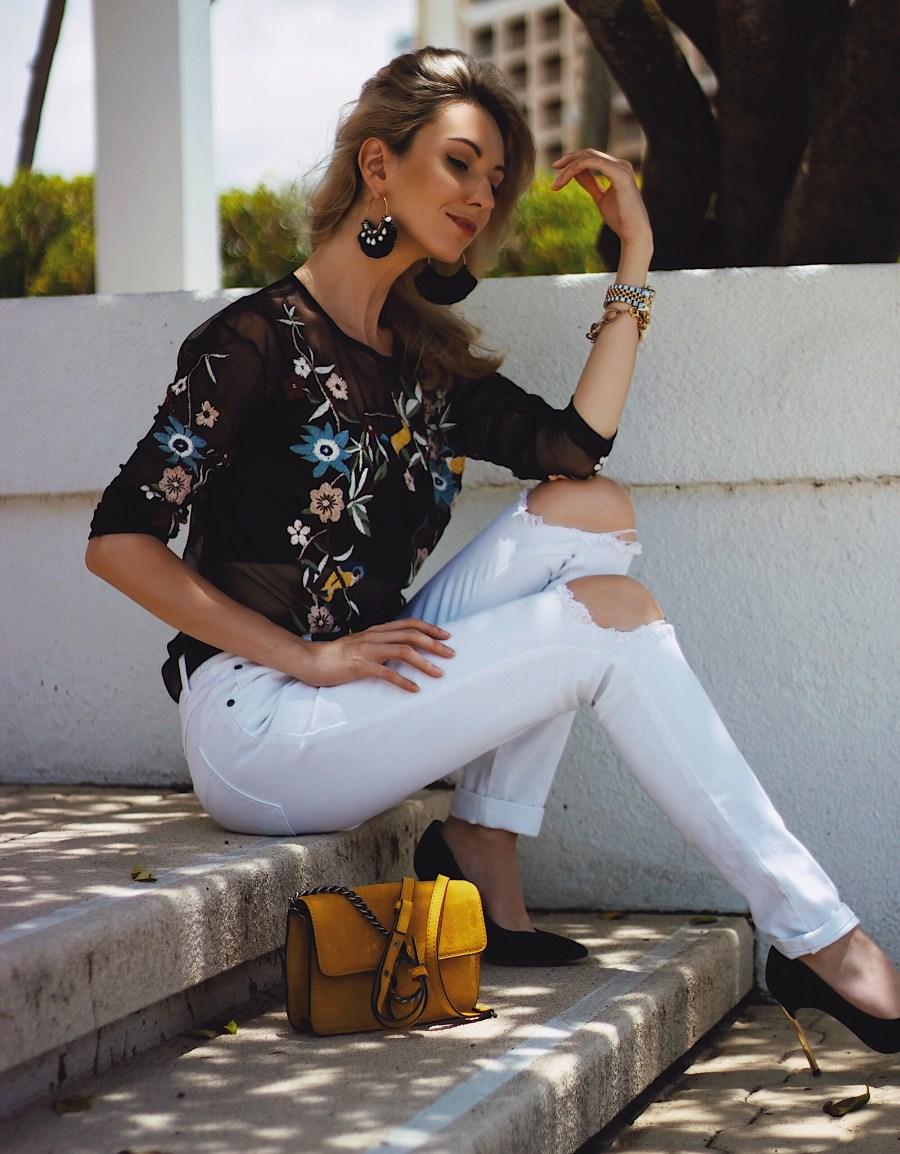 White TOBI Distressed Jeans Zara Embroidered Shirt Mango Mustard Suede Bag