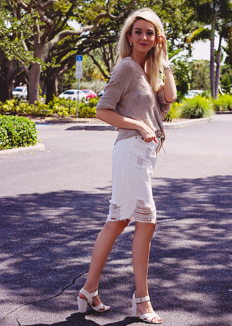 Cozy Knit Distressed Denim Skirt Suede heels StyleUnsettled