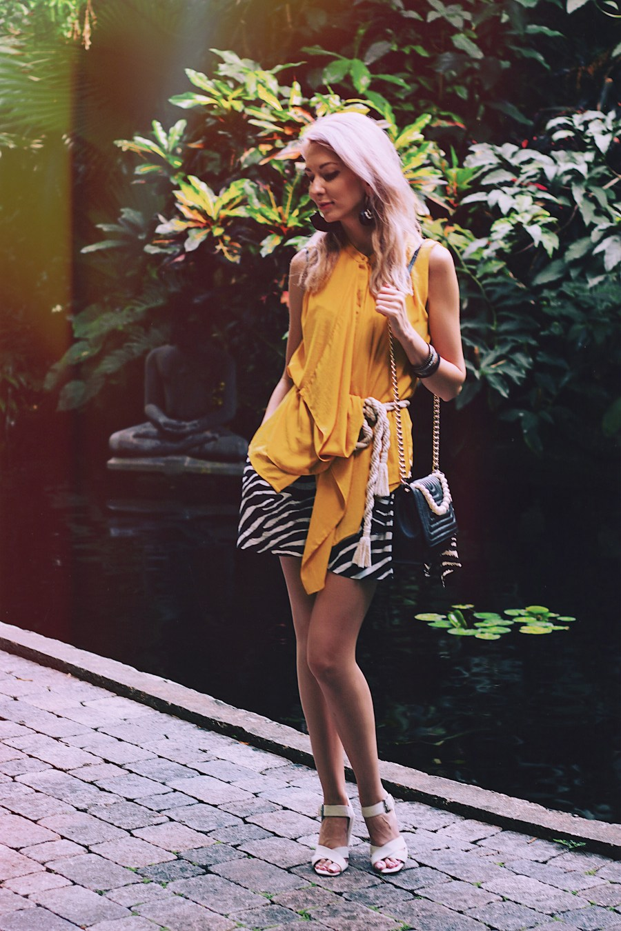 Yellow Top Rope Belt Zebra Shorts Suede Sandals