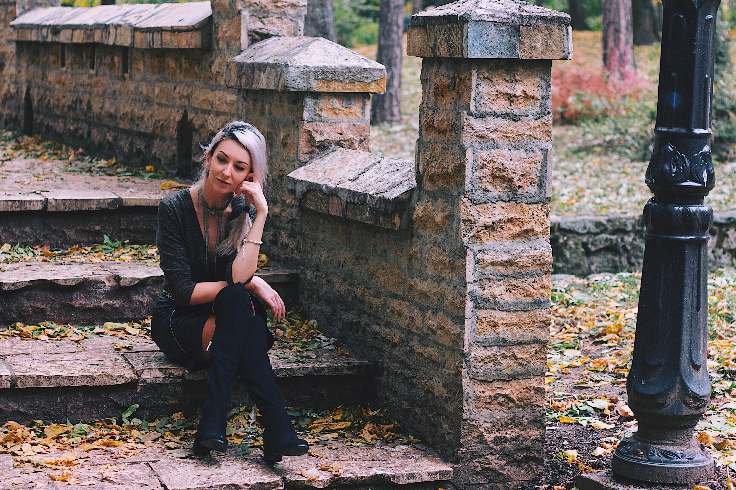Autumn Moods Leather Skirt Over the Knee Boots Copou Park Iasi
