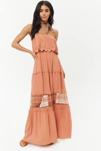 Forever21 eyelet lace crochet maxi dress amber