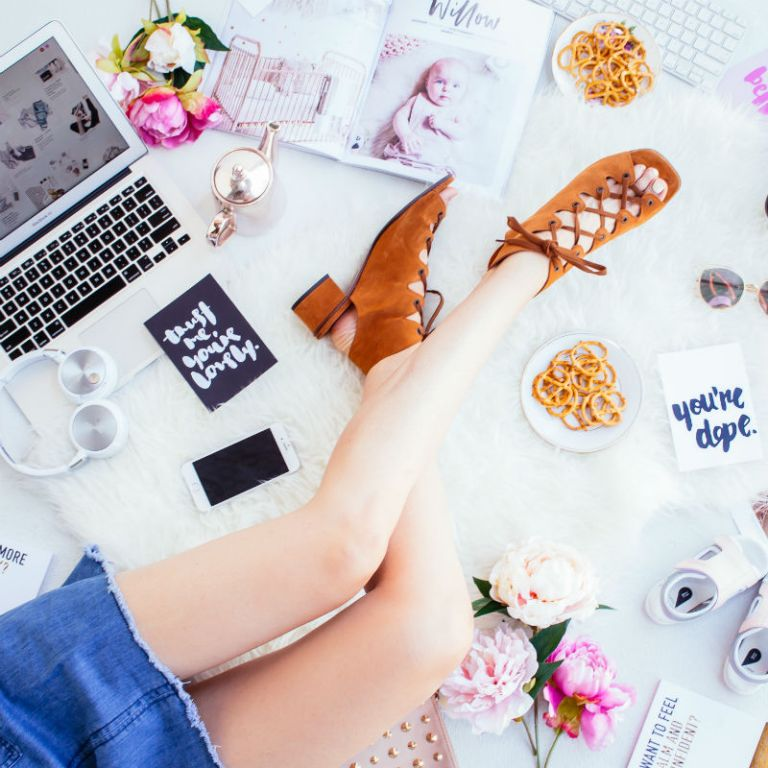 shoes online shopping flatlay legs