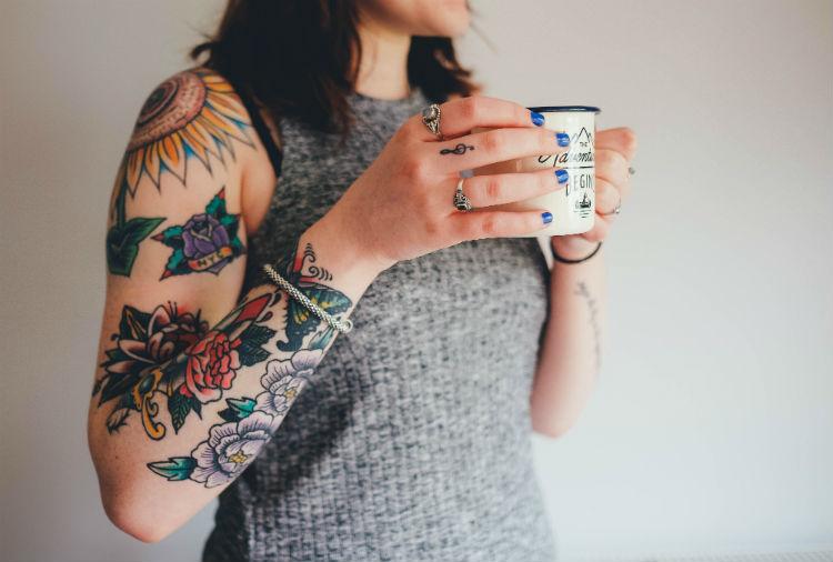tattoos woman coffee
