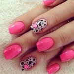 pink textured nails