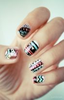 Beautiful Aztec Nail Art Designs For Young Girls 4