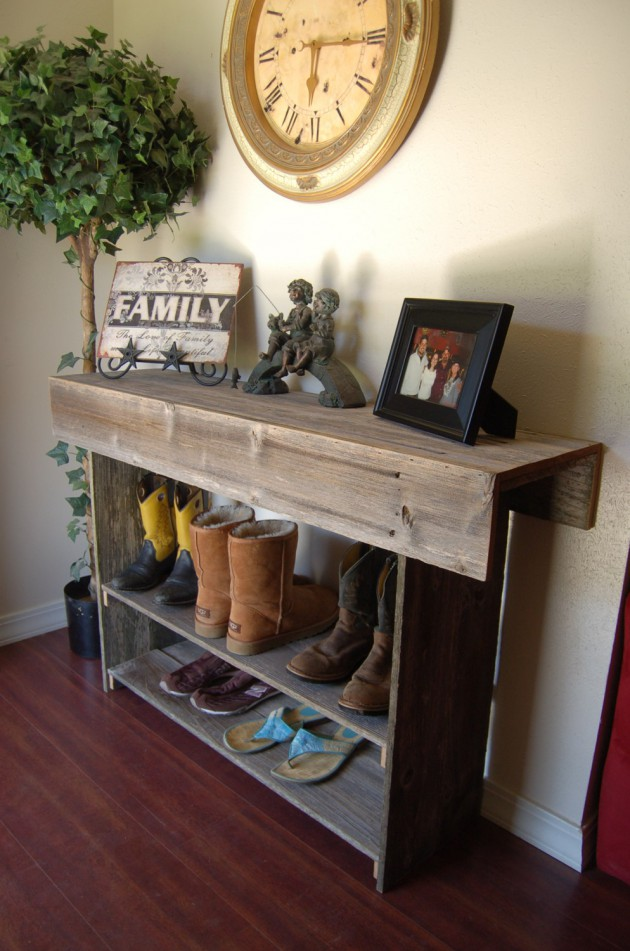 table and shoe rack