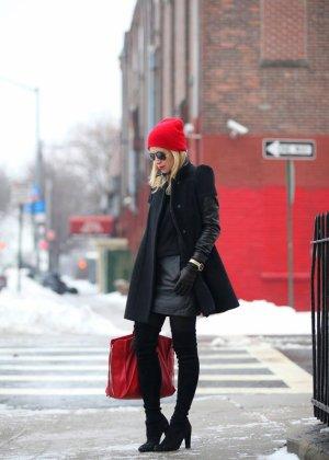black coat in winter