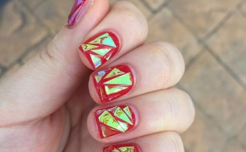 Broken Mirrors Nail Art Designs For Young Girls
