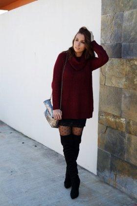 Burgundy sweaters