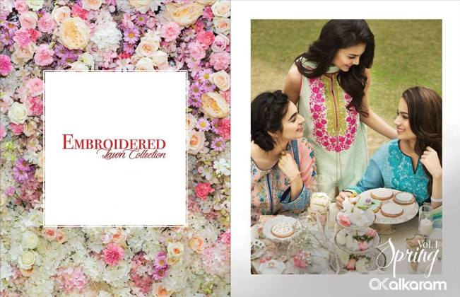 Embroidered Lawn Spring Alkaram Collection 2016